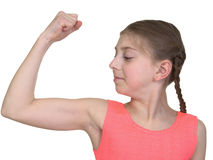 Girl demonstration us muscular system Royalty Free Stock Photo