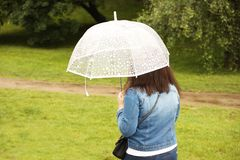 A girl in a denim blue jacket with a white transparent umbrella walks in the rain among the green. Romantic mood. Melancholic wet stock images