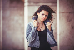 Girl with a denim jacket. Stock Photography
