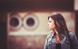 Girl with a denim jacket. Royalty Free Stock Photo
