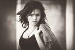 Girl with a denim jacket. Bw Royalty Free Stock Photos