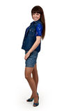 Girl in denim shorts Royalty Free Stock Photography