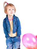 Girl in a denim suit Stock Photo
