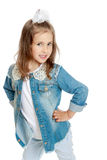 Girl in denim suit Royalty Free Stock Images