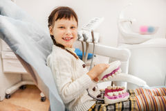 Girl at the dentist. Royalty Free Stock Photo