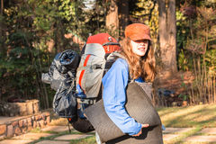 Girl Departure Backpack Gear Stock Photo