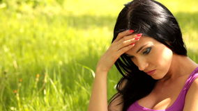 Girl in depression. Brunette girl who has depression, sadness stock footage