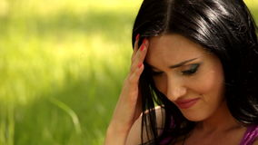 Girl in depression. Brunette girl who has depression, sadness stock video footage