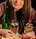 Girl in depression drinking alcohol Stock Image