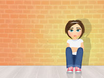 Girl with depression Royalty Free Stock Image