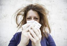 Girl depression pills Royalty Free Stock Photos