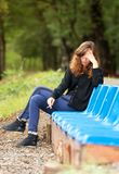 Depressed woman girl cigarett