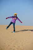 Girl in desert Royalty Free Stock Photography