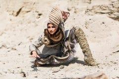 Girl in a desert Stock Photos