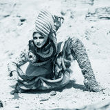 Girl in a desert Royalty Free Stock Images