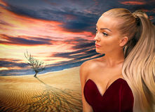 Girl in a Desert with Lonely Tree, Painting Stock Photography