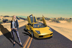 Girl on desert road with sports car Stock Photography