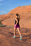 Girl on Desert Sunrise Run Royalty Free Stock Images