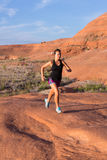 Girl on Desert Sunrise Run Stock Images