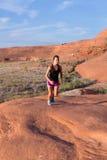 Girl on Desert Sunrise Run Stock Image