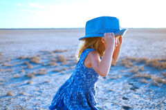 Girl in the desert Stock Photography