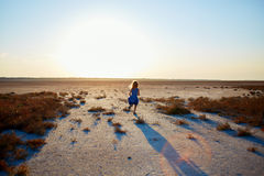 Girl in the desert Royalty Free Stock Images