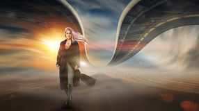 Girl in Desert with twisted Bridges. At Sunset. Fantasy Painting stock illustration