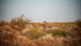 The girl in the desert Royalty Free Stock Photo