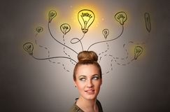 Girl with design thinking concept stock photography
