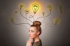 Girl with design thinking concept stock photos