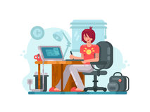 Girl designer at workplace. Workplace designer. Girl draws by using graphic tablet. Vector illustration Stock Photos