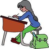 Girl at desk Royalty Free Stock Images