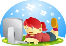 Girl with desktop computer stock images