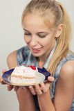 Girl with dessert Royalty Free Stock Images