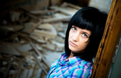 Girl in a destroyed building Royalty Free Stock Images