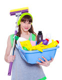 Girl  with detergents and mop Royalty Free Stock Photos
