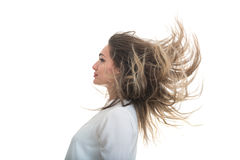 The girl with the developing hair on a white background Stock Images