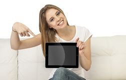 Girl with device. Beautiful girl with device on a white background Royalty Free Stock Photo