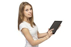 Girl with device. On white background beautiful girl with devices Stock Photography
