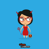 Girl With Devil Halloween Costume Isolated Royalty Free Stock Photo