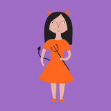 Girl in a devil halloween costume Royalty Free Stock Image