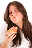 Girl devouring a  pizza Stock Photo