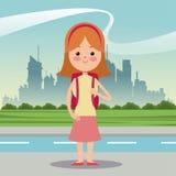 Girl diadem bag student urban background Royalty Free Stock Photos
