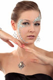 Girl with diamond make-up Stock Image