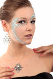 Girl with diamond make-up Royalty Free Stock Photo