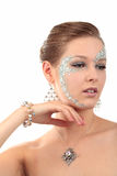 Girl with diamonds looking aside Royalty Free Stock Photography