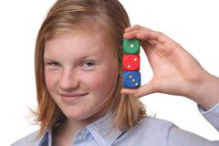 Girl with dices Royalty Free Stock Image