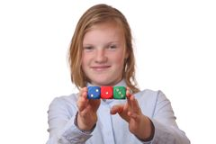 Girl with dices Royalty Free Stock Photos
