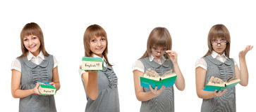 Girl with dictionary English, emotions Stock Photos