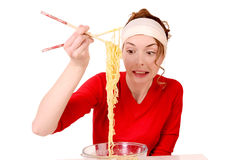 Girl did not keep pasta. Portrait stock images